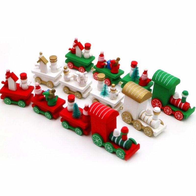Trem do Natal 1pc Form Madeira Natale Decoração de Papai Noel Urso Xmas Kid brinquedos de madeira presente Início Ornamento Navidad 2017 Ano Novo