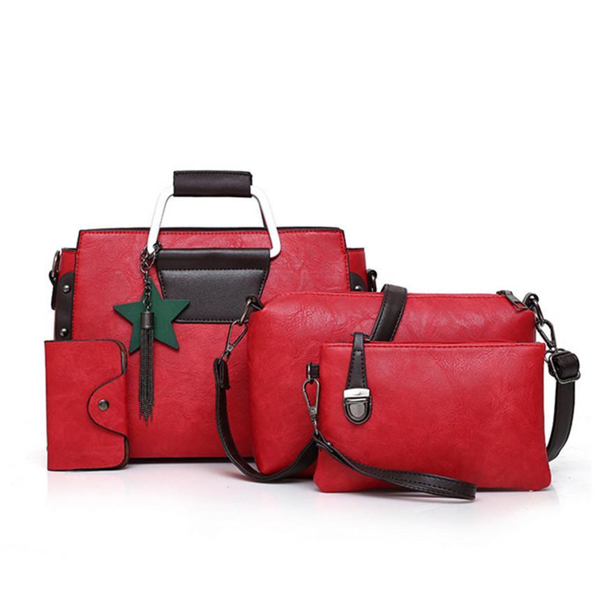 Женский Holor Red Pure Pieces Lady's Set Сумка 3 Сумка на плечо Женская сумка Новый IUPNW