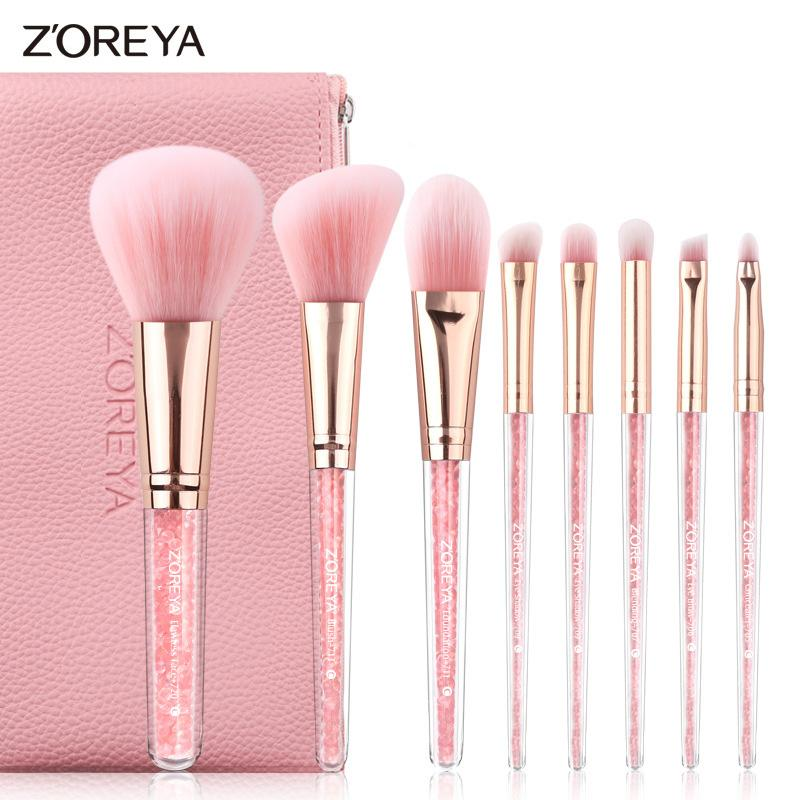 8PCS rosa cristallo pennelli trucco Fondotinta Correttore Fard compongono l'insieme di spazzola molle eccellente dei capelli sintetici cosmetici Strumenti