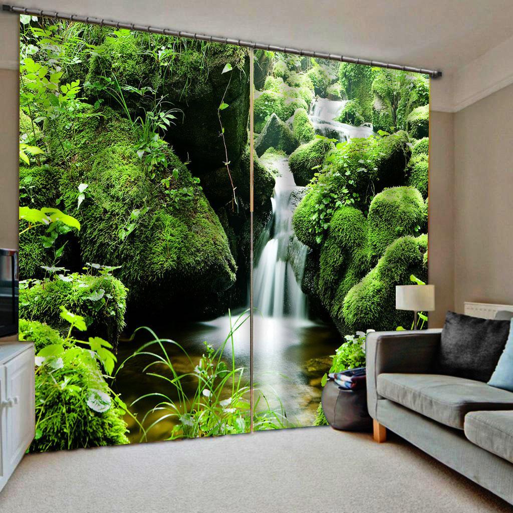 paesaggio verde cascata 3d tende finestra di blackout di lusso set 3D tende per Letto Soggiorno tende oscuranti