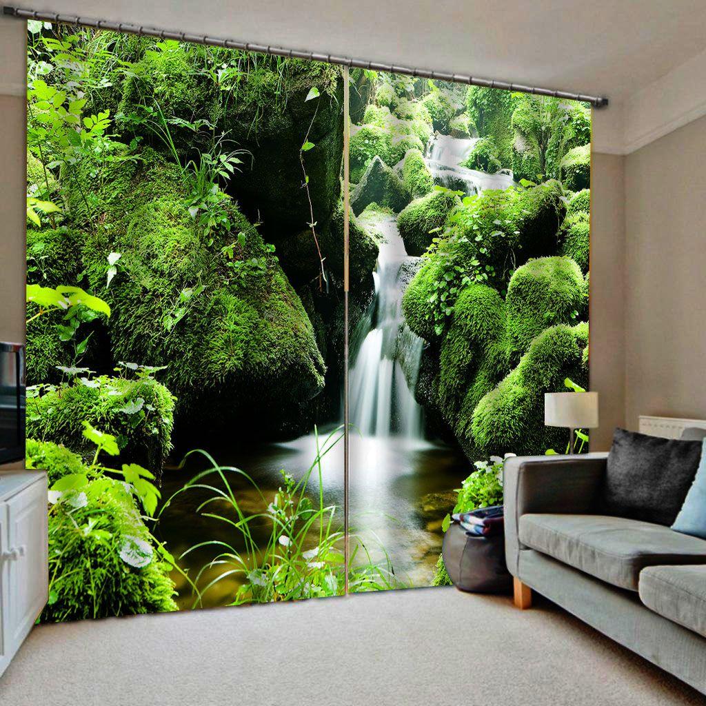 paisaje verde cascada 3d cortinas de ventana del apagón del lujo 3D Cortinas fijó para el sitio cama salón cortinas opacas