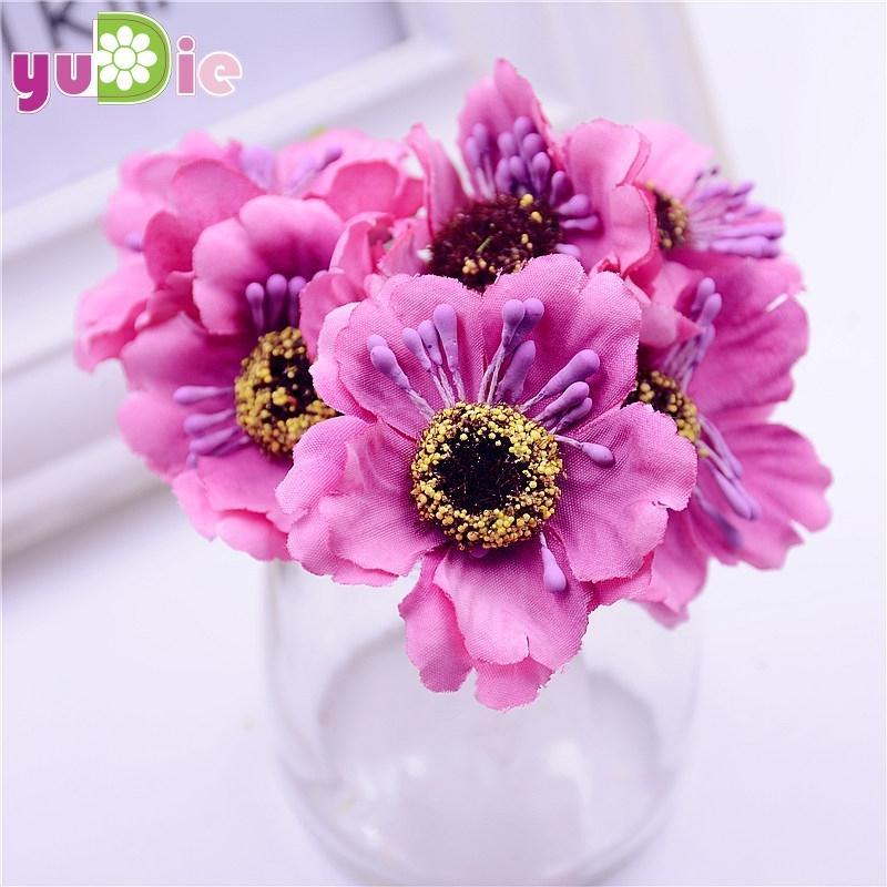 12pcs/lot 14colors Silk Cherry Blossoms Small Artificial Poppy Bouquet Wedding Decoration Mini Rose Flowers For DIY Scrapbooking C18112601