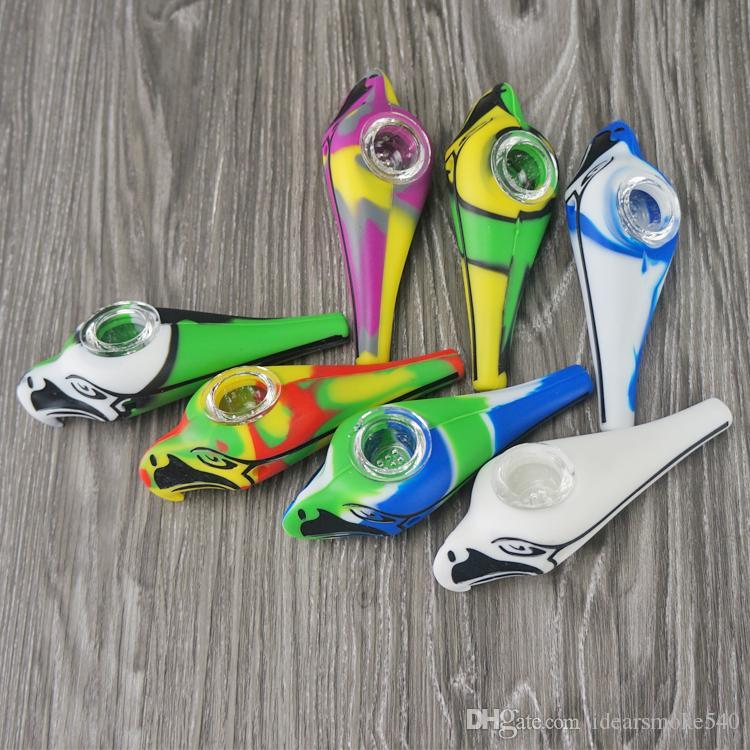 Heiße verkaufende bewegliche Eagle-Silikon-Pfeife mit Glasschüssel Handrohr Eagle-Öl-betupfendes Rohr geben DHL AUF LAGER frei