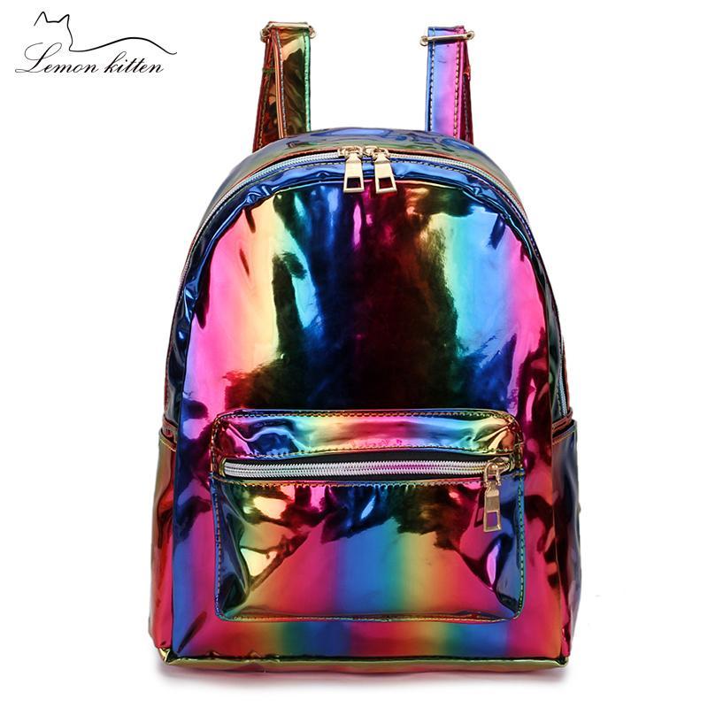 2019 Color Laser School Backpack For Girl Cool Design Mini Small Women Backpack Shoulder Bag Female Rucksack Bagpack Mochila Y19051405