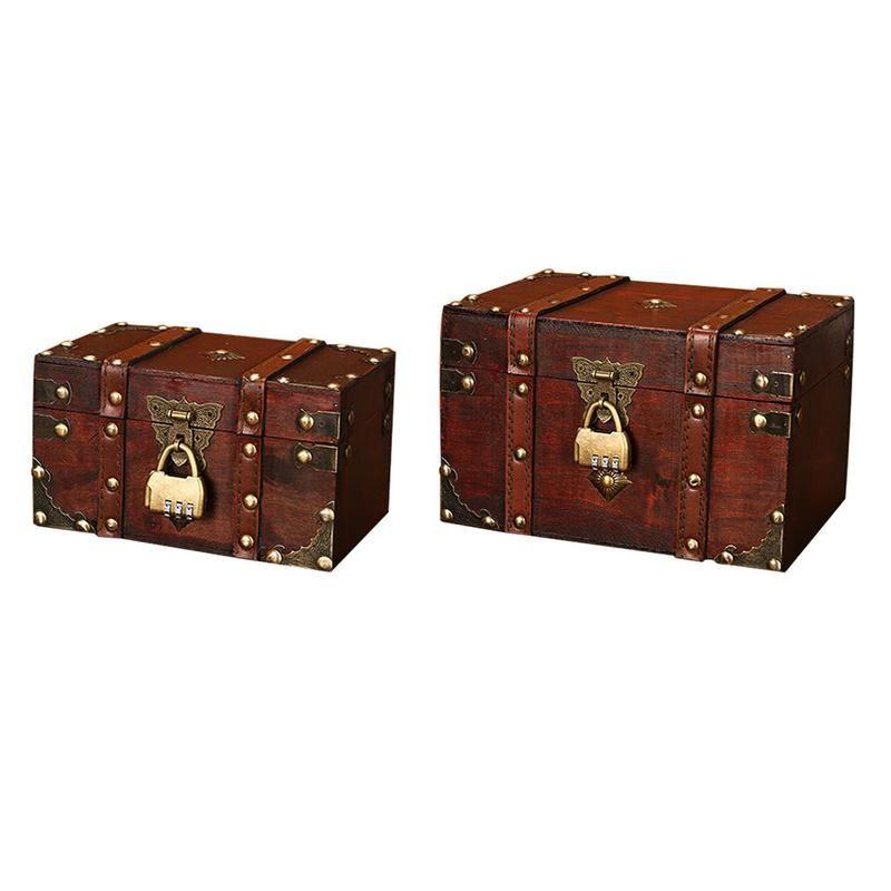 Boîte de rangement en bois Carré Rétro Organisateur de bijoux pour armoire de bureau à domicile Conteneur de bijoux en bois Grande capacité Cas de stockage