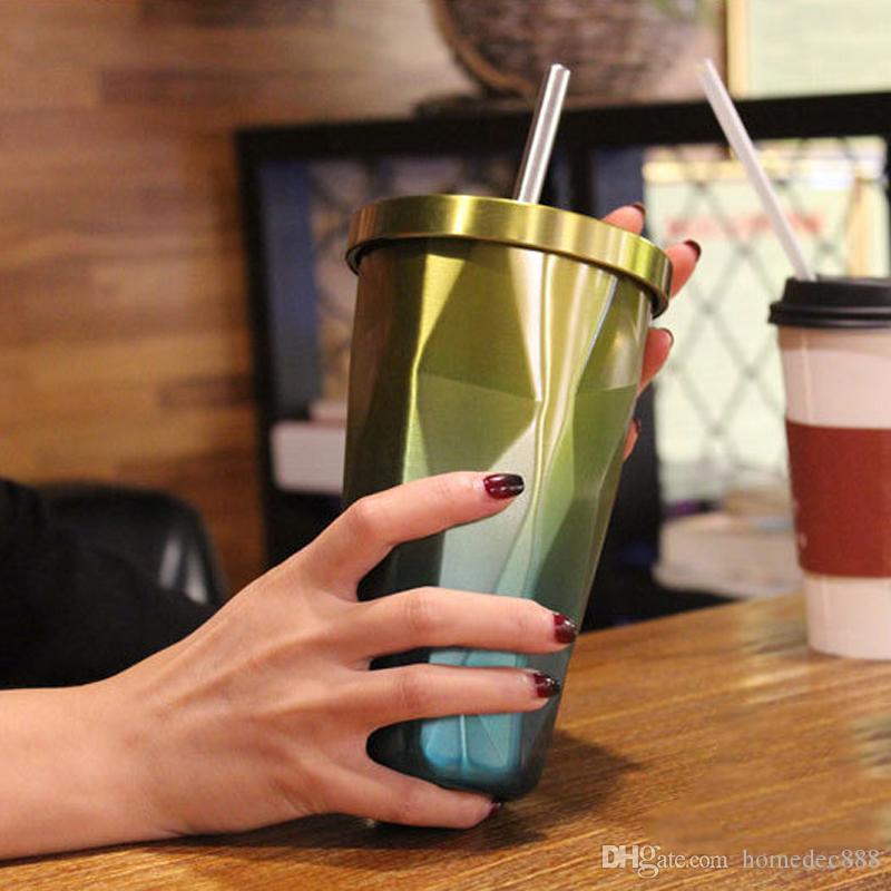 Steigungs-Edelstahl-Becher mit Stroh-Diamant-doppelwandiger Reiseschale mit Deckel trinkende Kaffeetassen Tumbler Straw Cup 500ML 17OZ DH1127