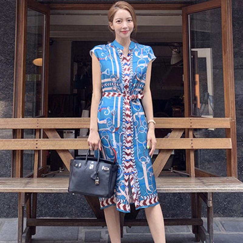 Coreano de alta qualidade Designer desfile de moda elegante do laço up-breasted único Vintage vestido estampado Mulheres Summer Beach Vestido