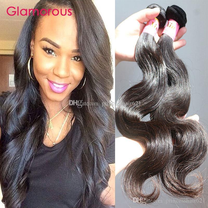 """Glamourosa não processada Malaia Humana Cabelo Humano Onda 2 Bundles Top Quality Virgin Hair 8 """"-34"""" Peruano Índico Malásia Extensões de Cabelo Ondulado"""