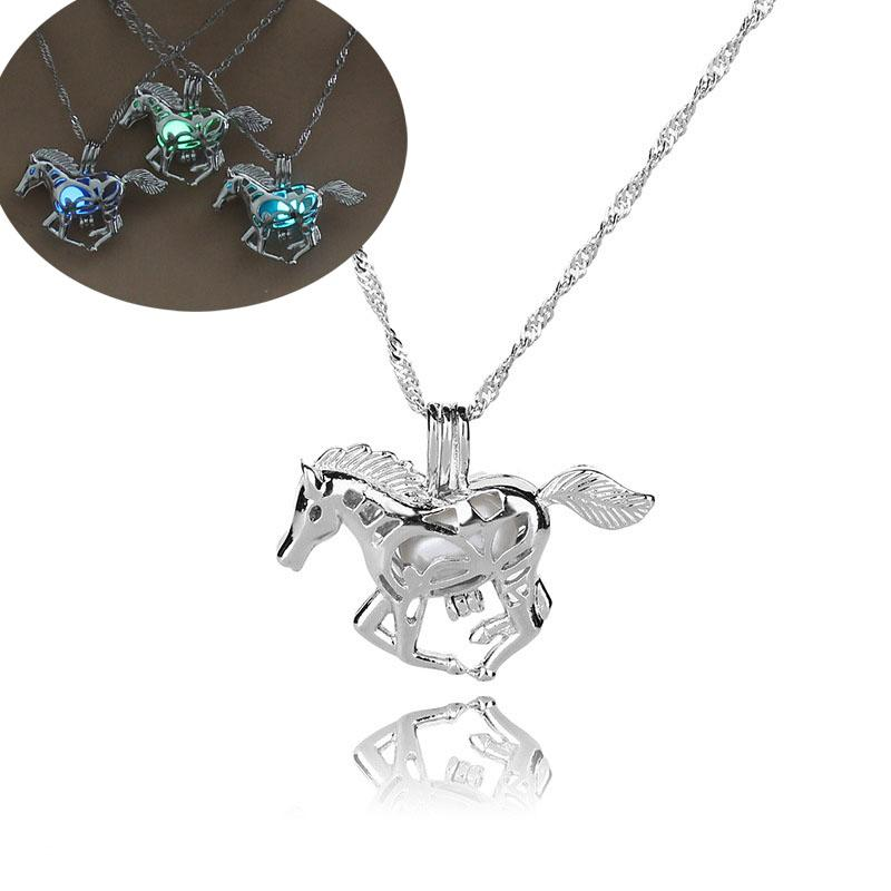 Luminous Glowing in Dark Horse Necklace Silver Horse Pendant Beads Hollow Lockets chains Animal Fashion Jewelry for Women