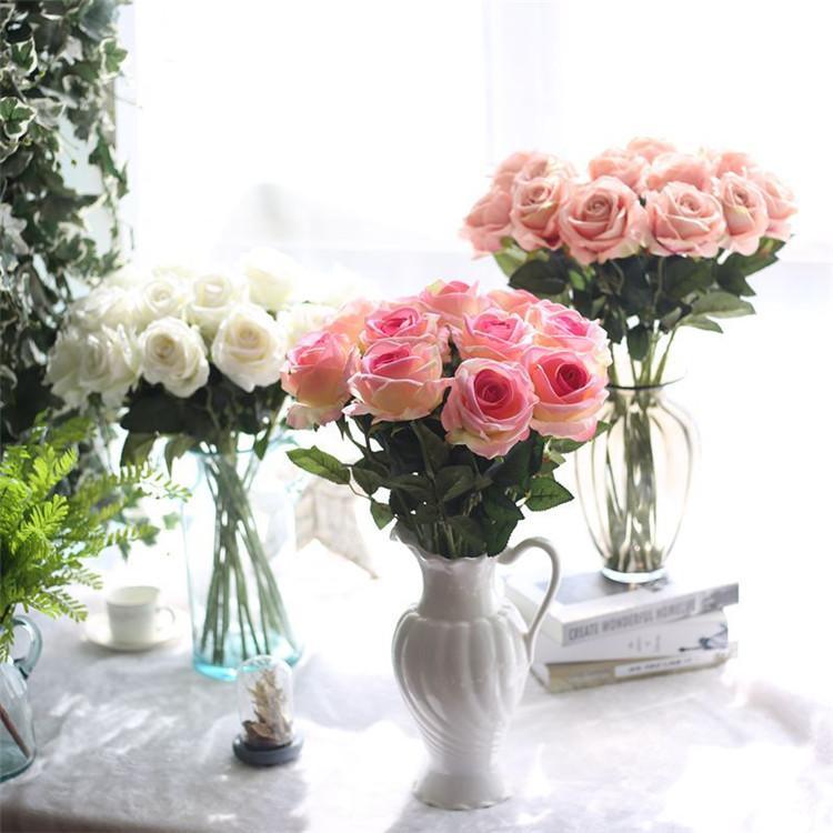 10pcs / lot Hochzeitsdekorationen Echtes Material Künstliche Blumen Rose Bouquet Zuhause-Party-Dekoration Gefälschte Seide einzige Stamm Blumen Blumen