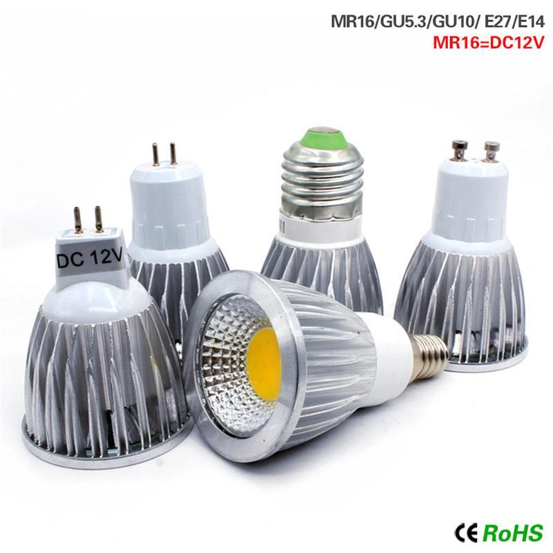 COB led Spotlight 9W 12W 15W led lights E27 E14 GU10 GU5.3 AC85-265V MR16 DC12V Cob led bulbs