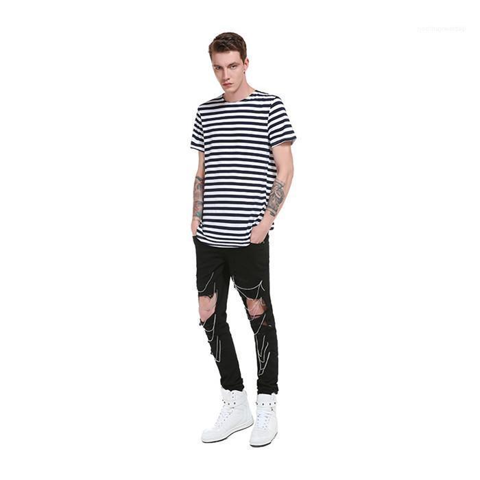El diseñador de moda de rayas imprimir camisetas de cuello redondo manga corta de verano Homme ropa suelta para hombre Ropa Casual