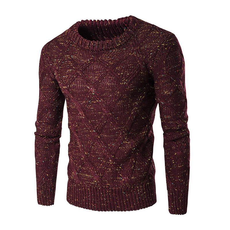 Мужские пуловеры O-образным вырезом Slim Fit Цветное Twisted Rarn свитер Хлопок Трикотажная 2020 Осенняя мода Тонкий Мужской Одежда мужская R
