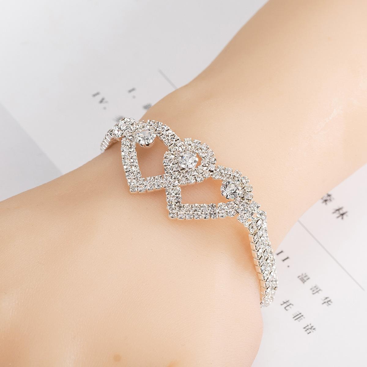 سلسلة أزياء مزدوج الحب القلب حجر الراين كامل أساور ذهبية فضية اللون وصلة للمرأة الحب هدية
