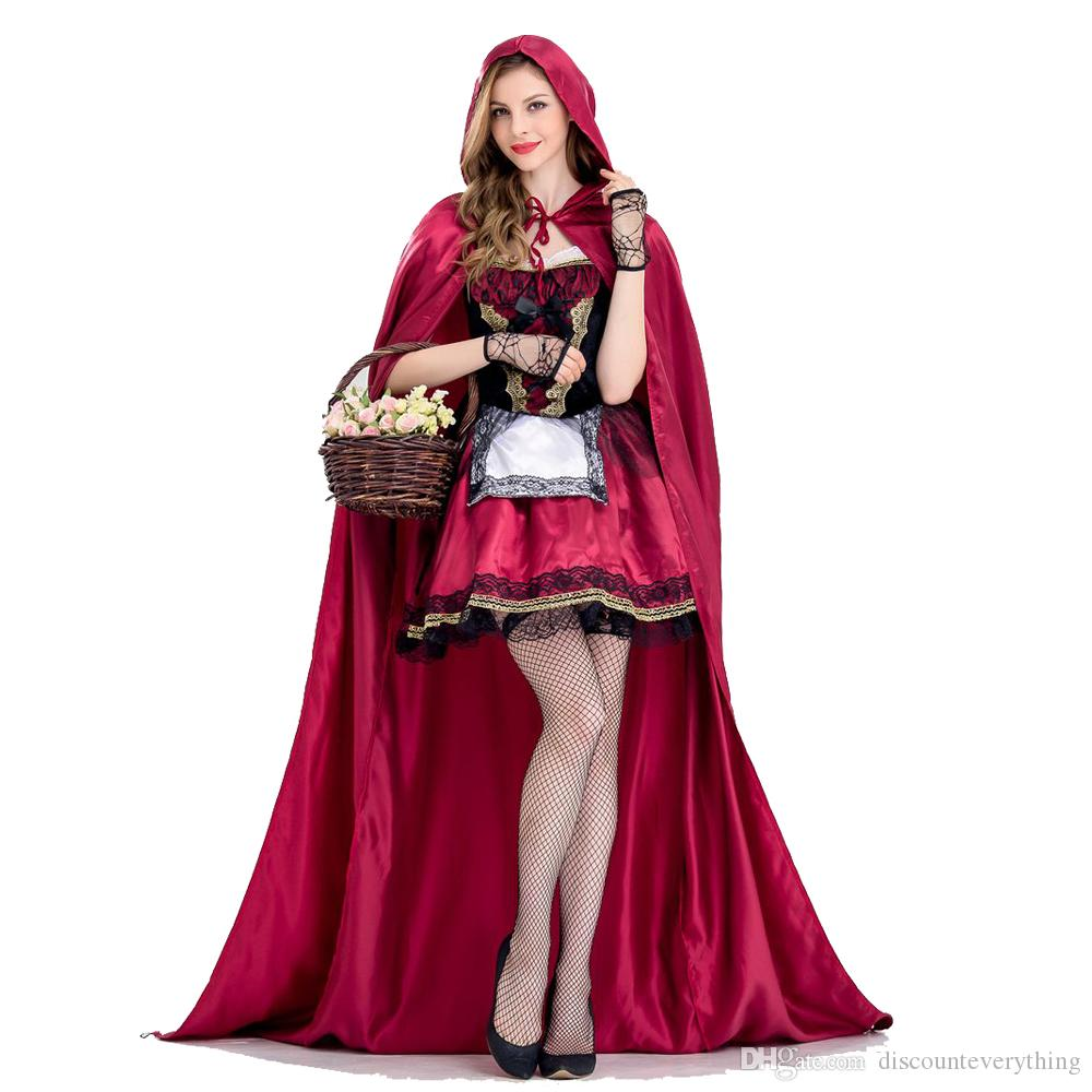 UK Women Little Red Riding Hood Costume Halloween Party Fancy Dress Cloak Outfit