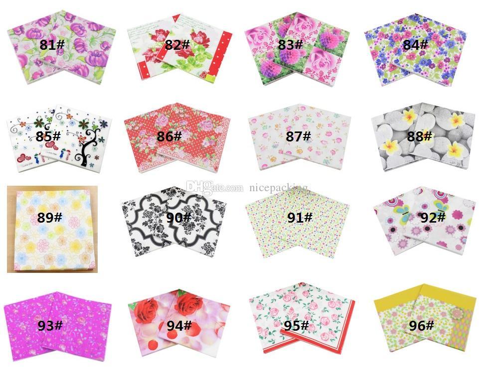 20pcs / set tovaglioli di carta tovaglioli serie di fiori # 81- # 96 per il pranzo / ristorante / partito / decorazione 20pcs / 50bags bag / lot trasporto libero da DHL