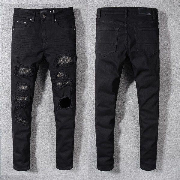 Calças de brim dos homens da moda Pista de Corrida Magro Racer Biker Jeans # 1155 Hiphop Skinny Men Denim Ripped Basculadores Calças Macho Rugas Jean Calças