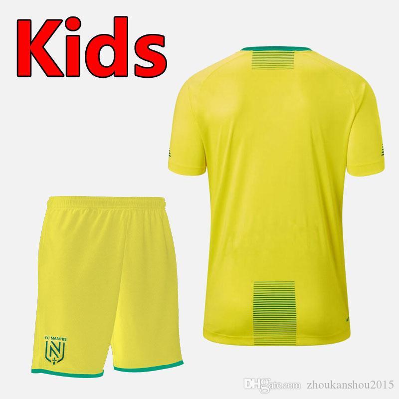 Тайская версия quality19 20 FC Nantes дети футбол наборы дети Kit наборы 19/20 FC Nantes мальчиков футбол рубашка обмундирование FC Nantes юношеский футбол ки