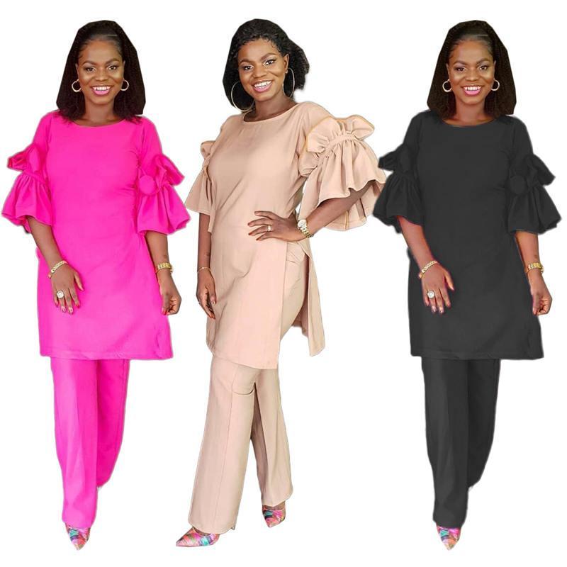 Irrégulière Femmes Deux Pantalons Piece pur de Split Pull Femme de couleur Tenues Trois Casual Femme Vêtements