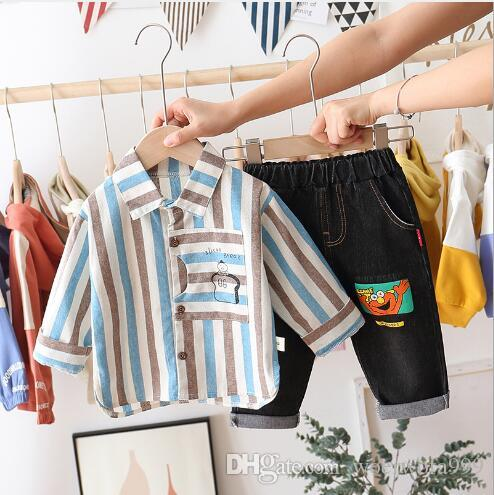 Children's boy autumn suit children's Long Sleeve Striped Shirt two piece set 1-4 year old spring and autumn fashion factory direct sale