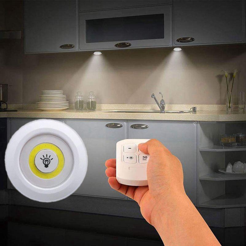 Neue Dimmbare LED unter Schrank Licht mit Fernbedienung Batteriebetriebene LED Schränke Lichter für Kleiderschrank Bad Beleuchtung