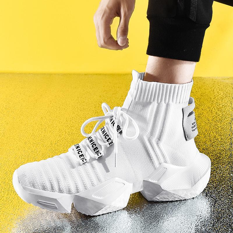 Sock Sneakers Shoes Casual Men Moda Top alta de respirável homens sapatos antiderrapantes calçados confortável Tendência zapatillas CX200619