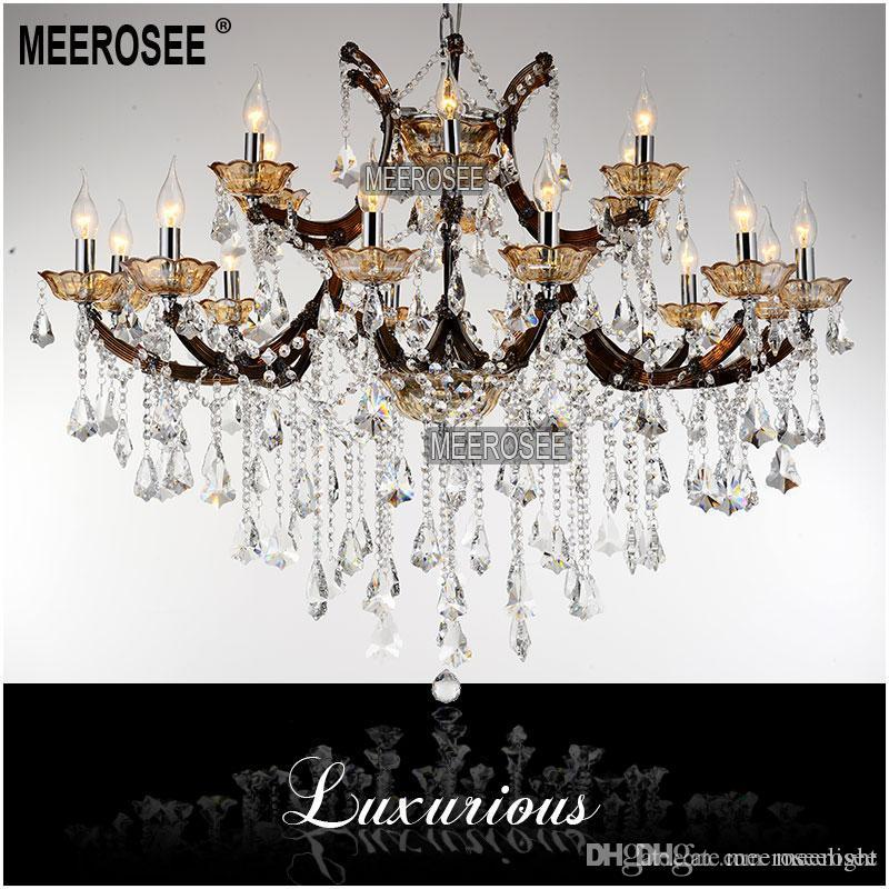 Modern 18 Lights Large Coffee color Crystal Chandelier Light Fixture, Coffee chrystal Lamp for Hotel, Restaurant, Lobby, Foyer MD8662