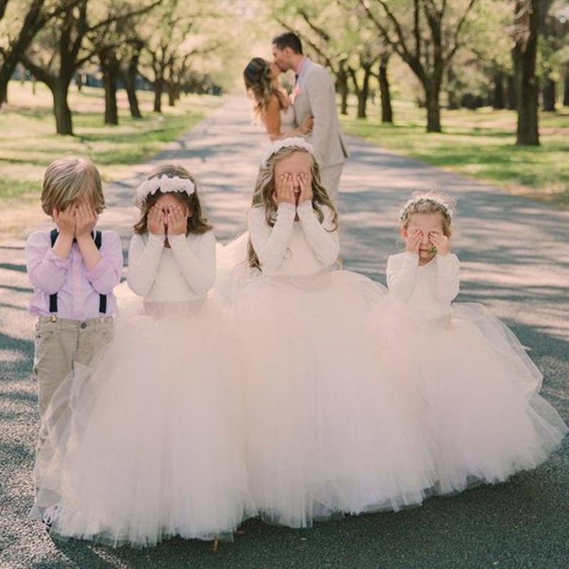 Robe de fille pour mariage pleine manches Scoop Stain Tulle première communion Robes de baptême Robes