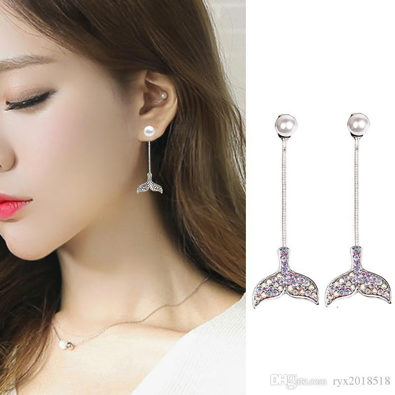 Orecchini in argento sterling 925 con ciondola gli orecchini di lusso elegante coda di pesce Orecchini di perle nappa Jewerly regali per le donne