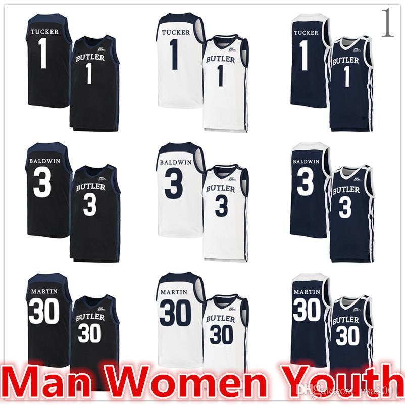 personalizado 2020 fez NCAA Butler Bulldogs basquete jerseys Tucker 1 Kamar Baldwin 3 Kelan Martin 30 jersey qualquer nome número de tamanho S-5XL