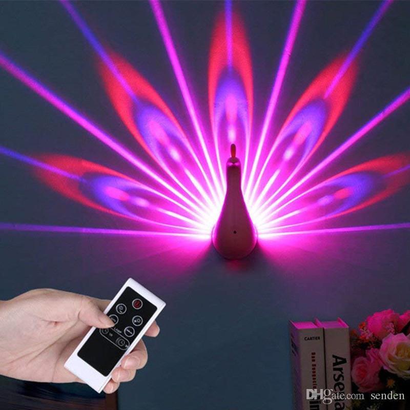 Applique murale à LED Peacock lampe de projection Télécommande Decro Romance Atmosphère Couloirs fond coloré projet paons NightLight