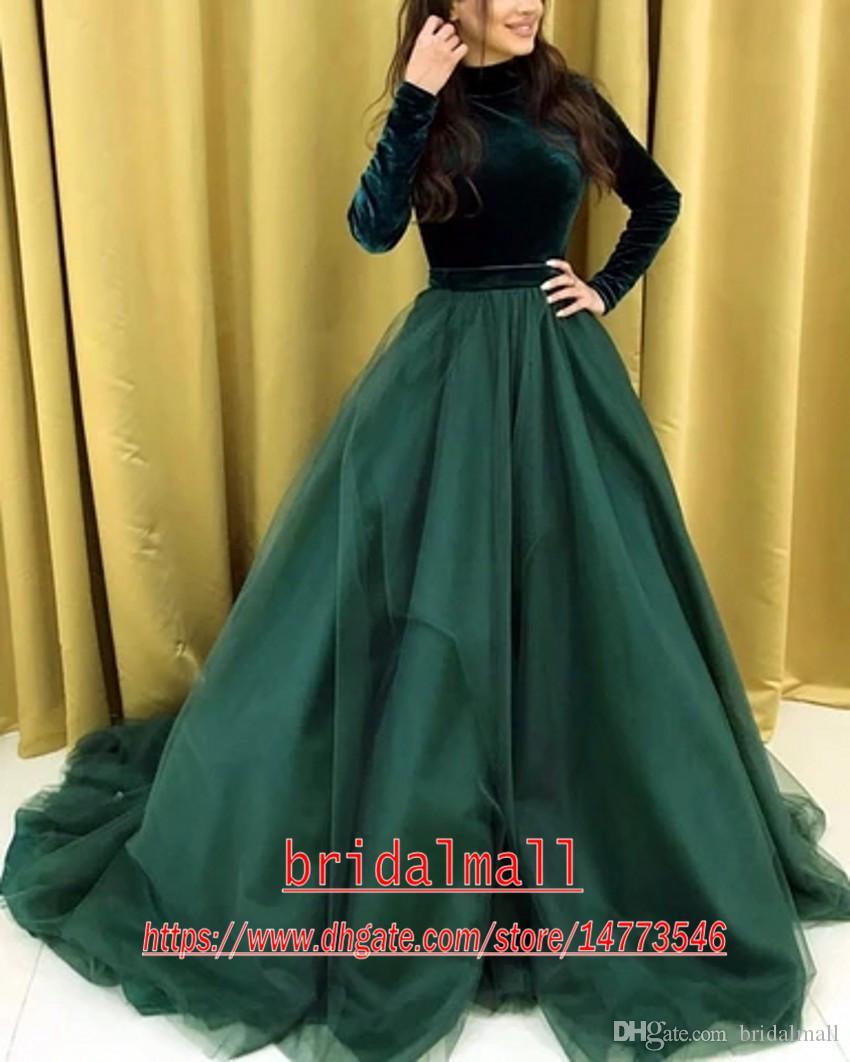 Aso ebi High Neck Long Sleeves Velvet Organza Prom Dresses Ball Gowns Formal Evening Dress Dubai Arabic Party Dress Long robes de soirée