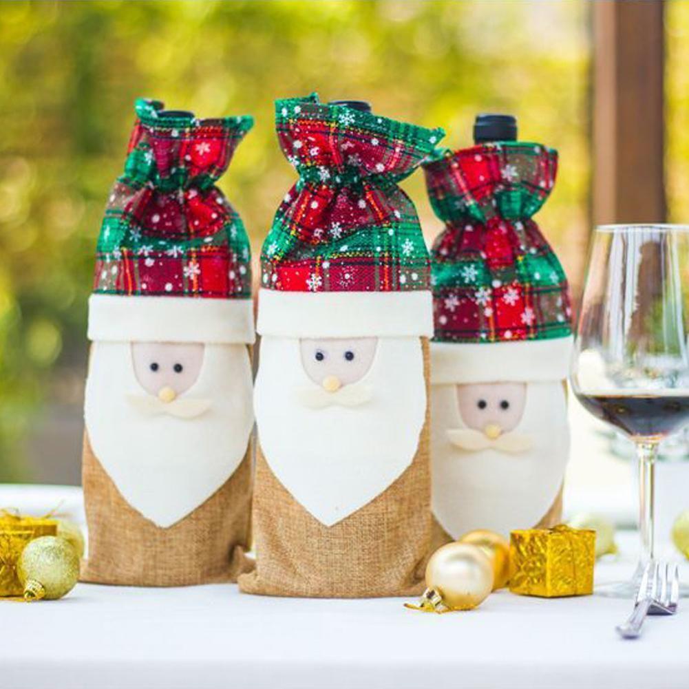 أزياء سانتا شجرة عيد الميلاد زجاجة النبيذ غطاء حقيبة هدية التفاف عشاء عيد الميلاد الجدول ديكور الساخنة