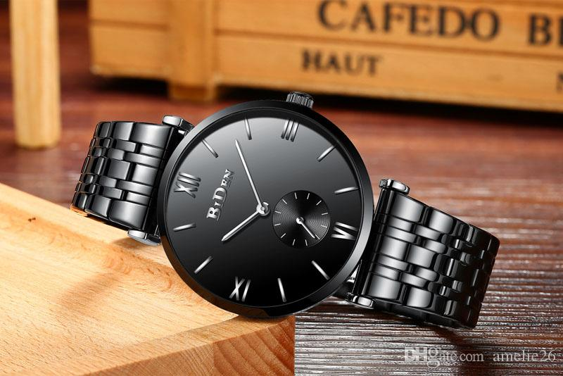 Homem de negócios relógio pulseira preta completa relógio de metal homem reloj hombre esporte mens relógios militar relógios de quartzo relógio relogio masculino