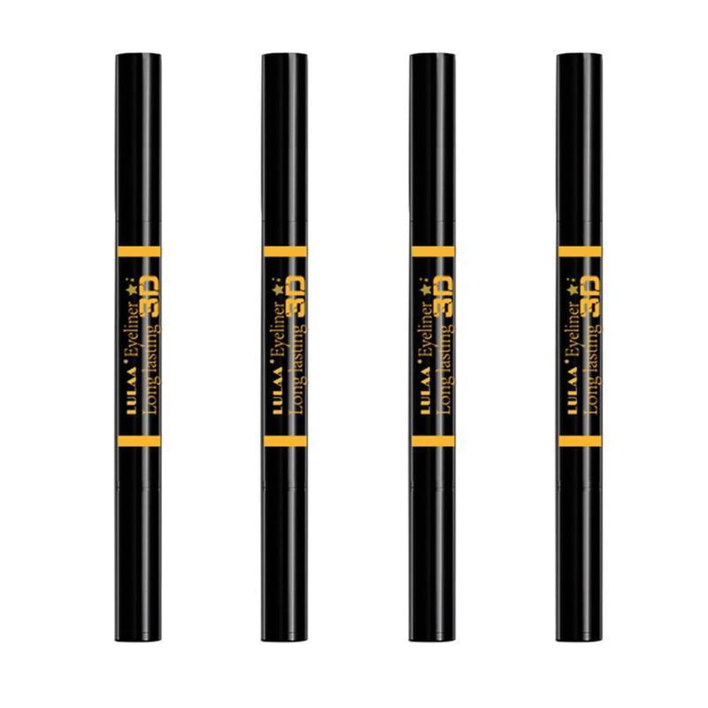 Professional Double Headed Black Eyeliner Pencil with Stamp Seal Waterproof Eye Liner Cosmetics Liquid Pen Make Up Tools