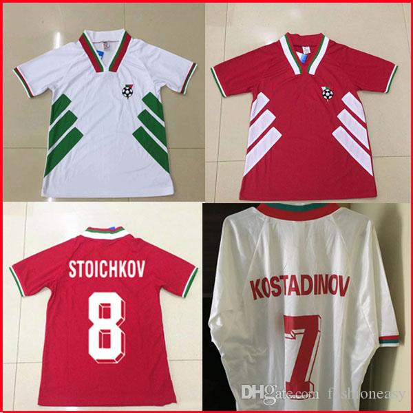 1994 Bulgaria Retro Soccer Jersey World Cup National Team National Home Casa Away Red White 94 Stoichkov Ivanov Andonov Camicia da calcio Vintage Vintage
