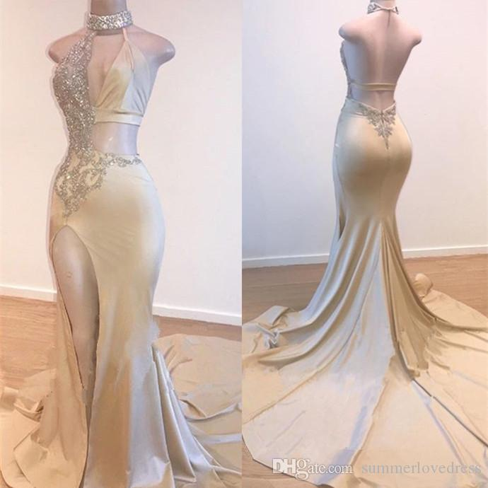2019 Sexy Gold Halter Satin Mermaid Long Prom Dresses Beaded Stones Backless High Split Floor Length Formal Party Evening Dresses