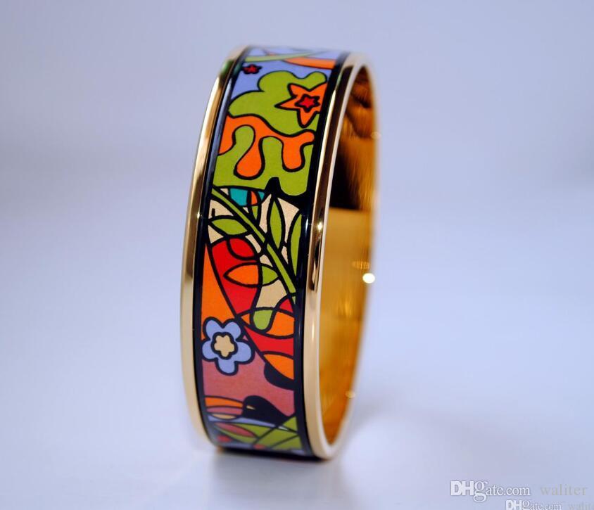 Dream Garden Series Bracelet de bracelet en émail plaqué or 18 carats pour femme Bracelets avancés Bangles Largeur 20mm Mode Designer Bijoux