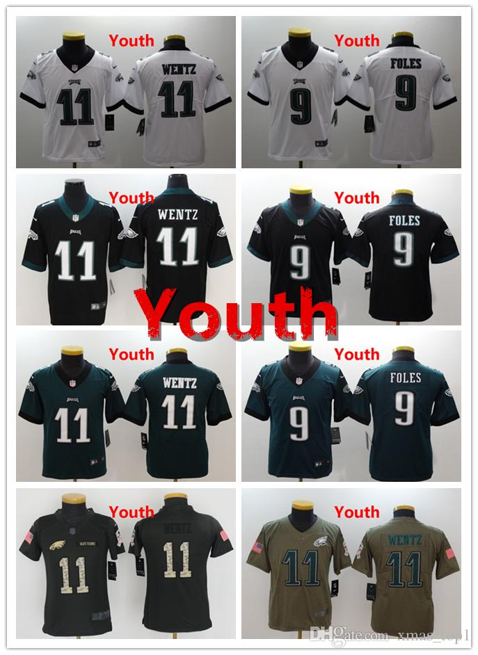 promo code 5a2e6 d3b32 2018 Philadelphia 9 Nick Foles Youth Jersey Eagles Football Jersey 100%  Stitched Embroidery 11 Carson Wentz Kids Jersey Color Rush Boys Jerseys  From ...