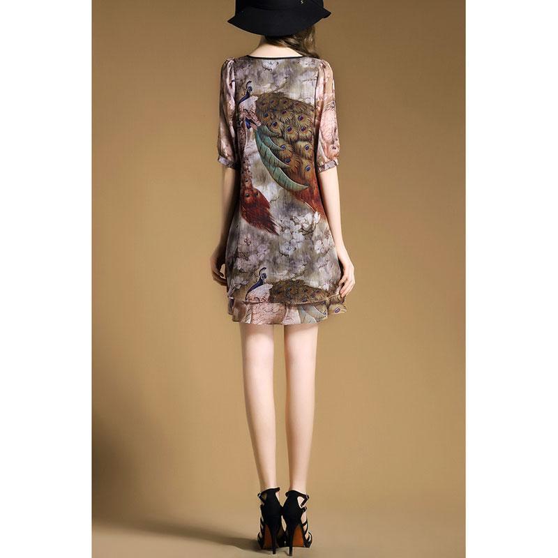Wholesale-S-2XL SAMMEJOY 2016 summer dress Original Design Peacock Printing women dress mini fashion Style thin autumn sexy vestidos 8096