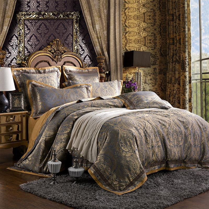 European Silk Cotton Satin Jacquard 4/6Pcs Palace Bedding Set King Queen Size Duvet Cover Bed Linen Bed sheet Pillowcases