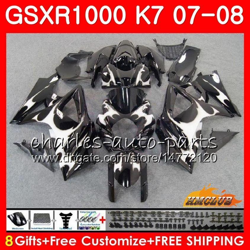 Karosserie für Suzuki GSXR-1000 GSXR1000 2007 2008 07 08 Bodys 12HC.18 GSX R1000 GSX-R1000 K7 Silvery Flames GSXR 1000 07 08 ABS-Verkleidungs-Kit