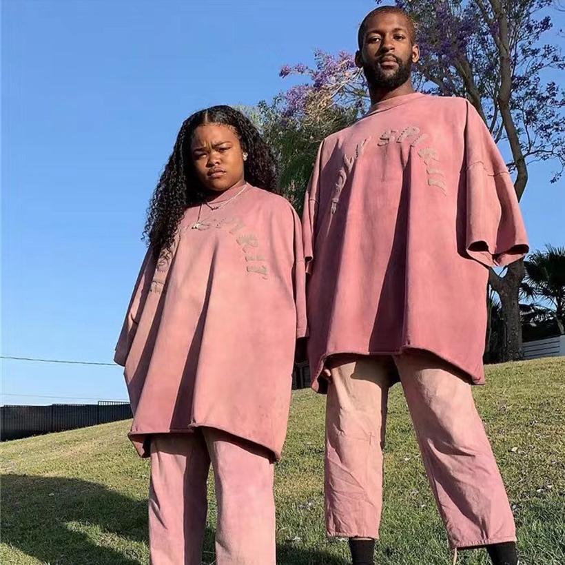 Kanye maglietta nuovo arrivo Domenica Solid Servizio Santo oversize di alta qualità Kanye West T-shirt in cotone Spirito Santo