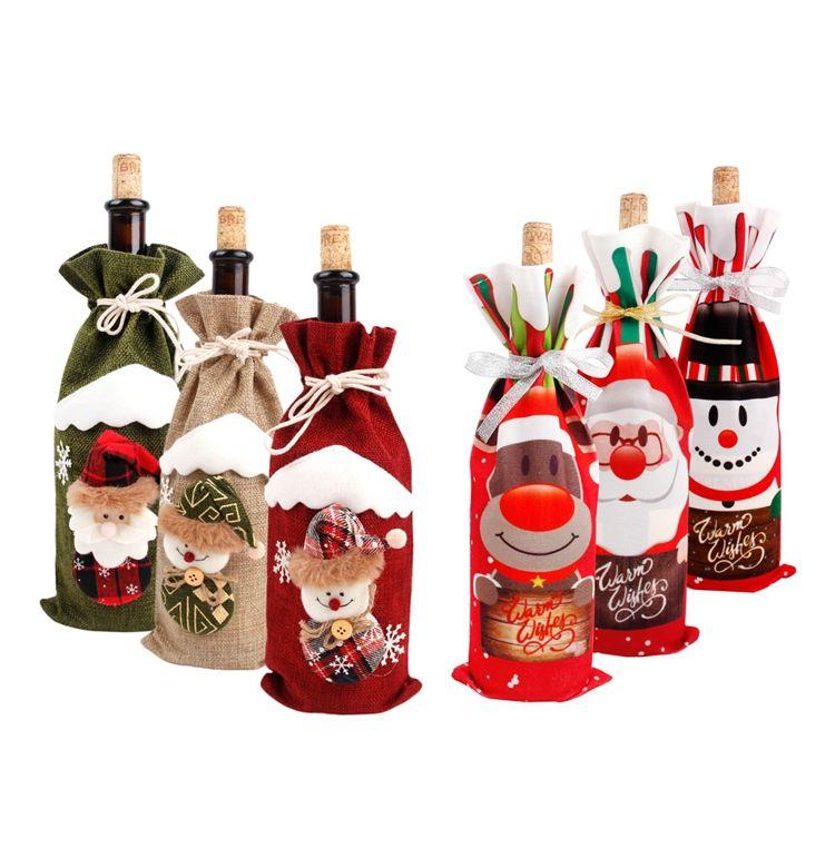 Bottiglia di vino di Natale del pupazzo di neve di copertura calza regalo di Natale Borse di natale Sacco imballaggio presenta Navidad Natale Capodanno 2020 all'ingrosso