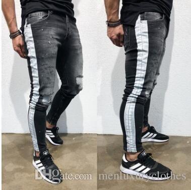 2021 Jeans Hombre Men Pantalones Ripped Jeans Black Side Striped Draped Biker Jean Pencil Pants From Northfacedhtop 24 89 Dhgate Com