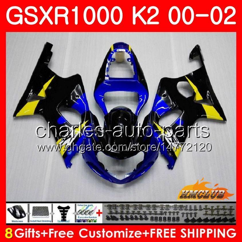 Suzuki GSX-R1000 GSXR1000 K2 GSX R1000 00 02 Bodys Kit 14hc.11 GSXR-1000 GSXR 1000 00 01 02 2000 2001 2002 블루 화이트 새로운 페어링