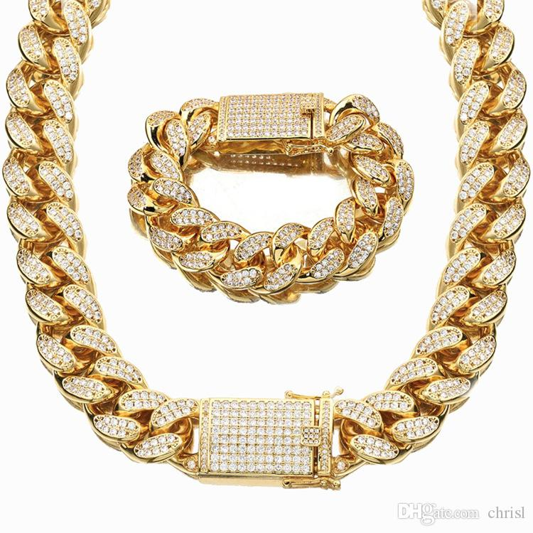 36e93c0380717 2019 18mm 18K Gold Plated Iced Out Full Diamond Cuban Link Chain Necklace  Bling Mens Hip Hop Jewelry Gift From Chrisl, $42.97   DHgate.Com