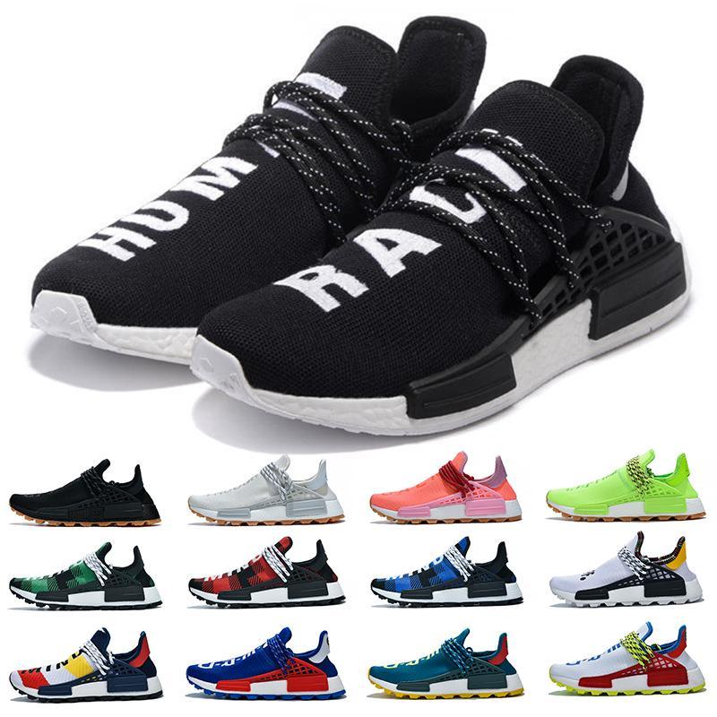 NMD İnsan Yarışı Erkek Kadın Koşu Ayakkabıları Pharrell Williams Hu Beyaz Siyah Sarı Kırmızı Gri Mavi Nerd Eğitmenler Spor Sneakers Erkek Boyutu 5-12