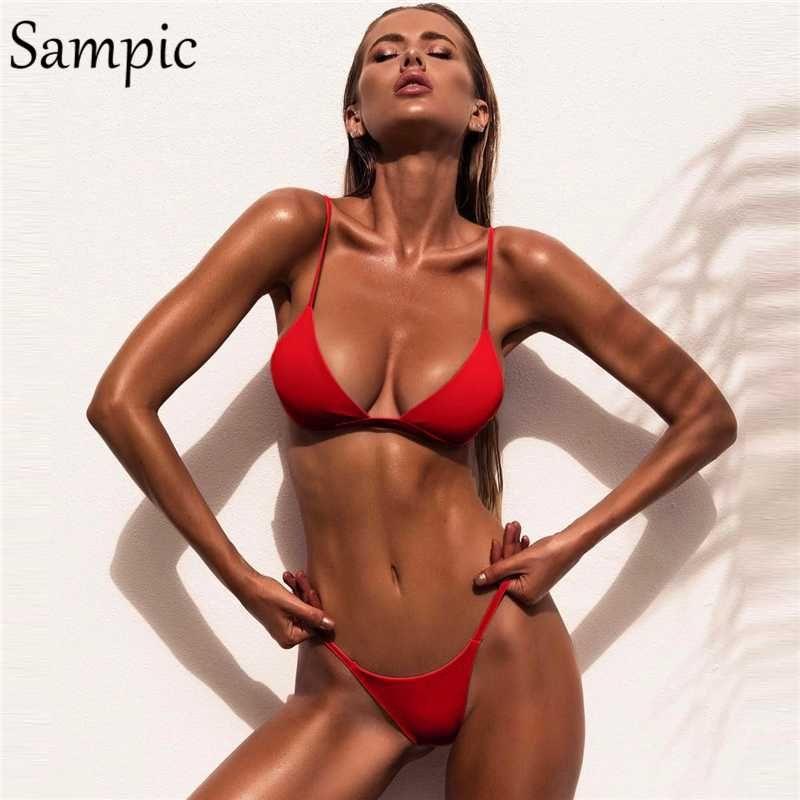Bikinis Set Sampic Sexy Baño Traje Mujer Swims Traje Brasileño Push Up Swimwear Tops Thong Bikini Bijini Mujer Verano Blanco Negro Rojo 2021