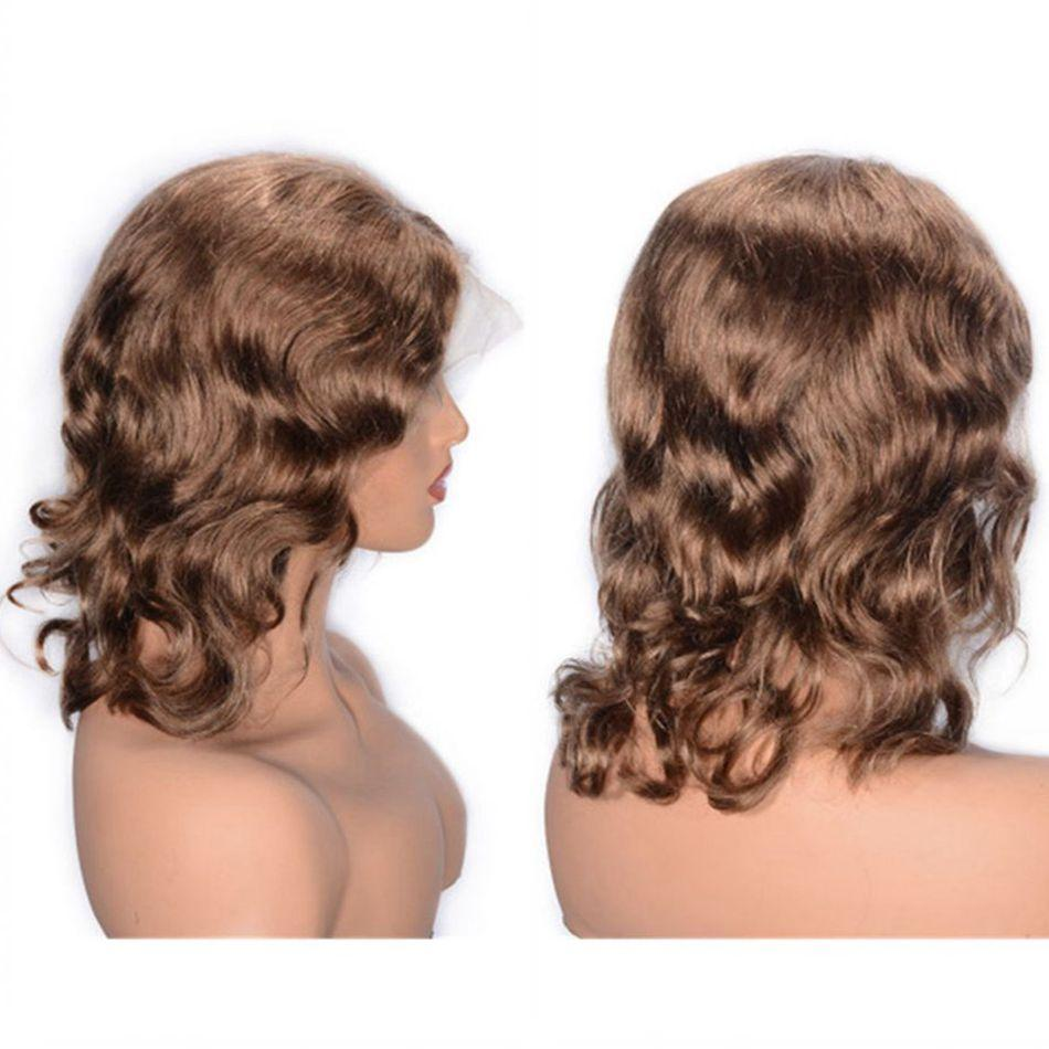 8# Peruvian Human Hair Lace Wigs Colored Curly Lace Front Wigs for Black Women Cheap Free Part Short Hair Wig